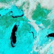 Ice on the Great Lakes seen in a false color infrared satellite image01