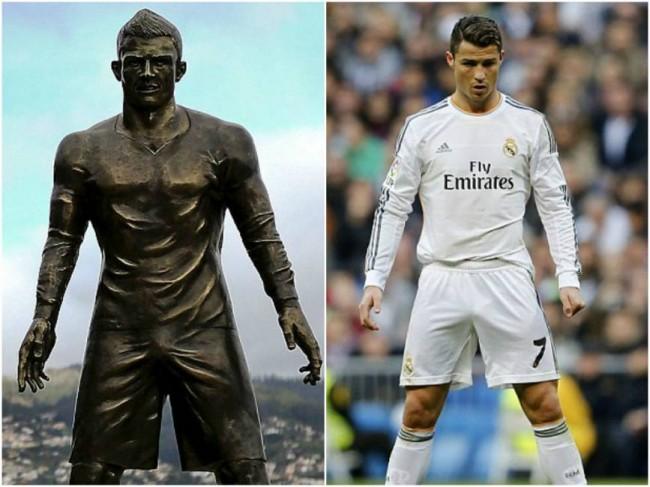 cristiano ronaldo statua di bronzo ma 232 polemica per il