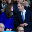 Kate Middleton tifosa di rugby in tribuna con William