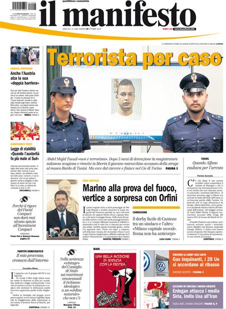 Nazionale 1 manifesto primapagina pag01 29 10 blitz quotidiano - Finestre pensione 2015 ...