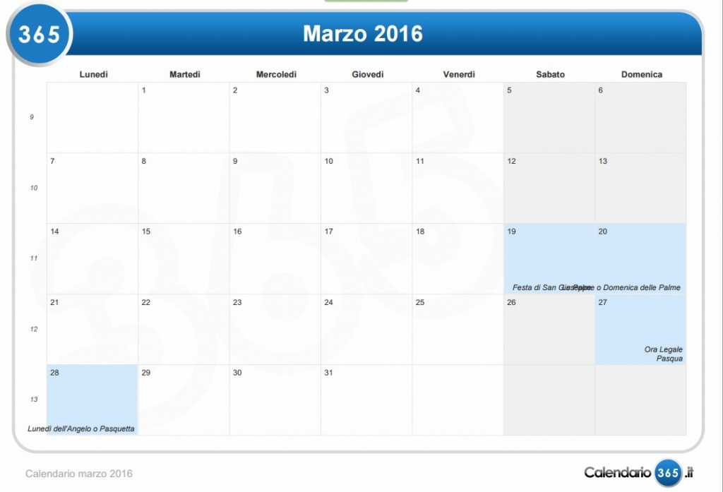 Calendario E Santi.Calendario 2016 Festivita Pasqua Ferragosto Santi E Fasi
