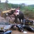 YOUTUBE India, elefante distrugge auto durante festa