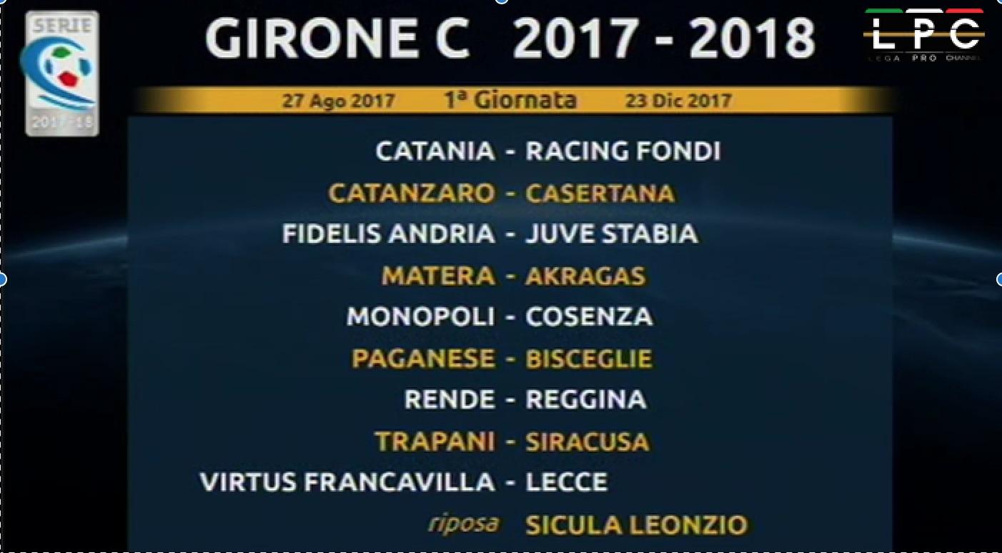 Calendario Juve Stabia.Calendario Girone C Serie C 2017 18 Blitz Quotidiano