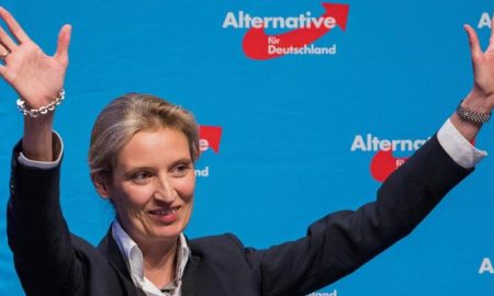 Germania. Alice Weidel, leader dell'estrema destra AfD, lesbica con partner originaria dello Sri Lanka