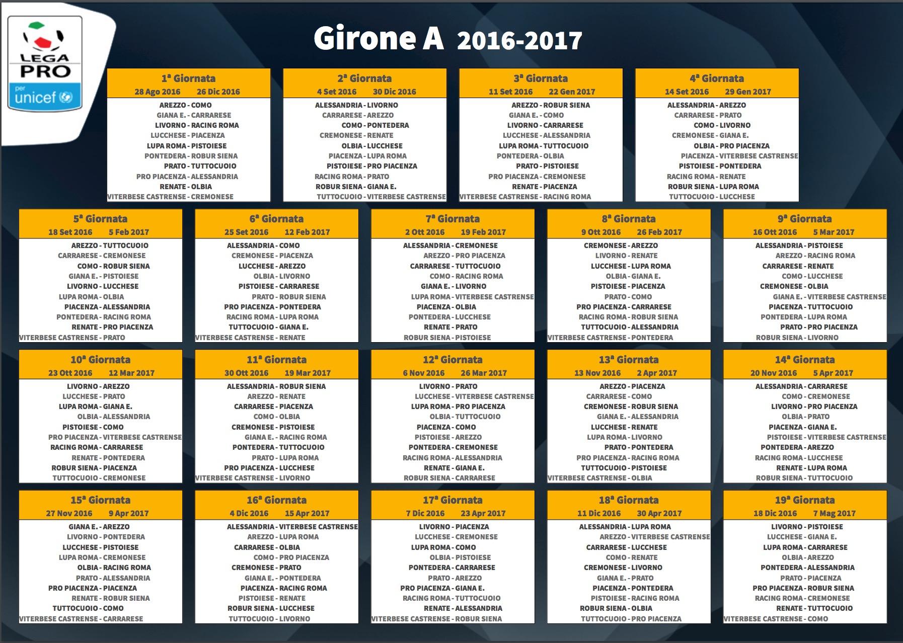 Calendario 15 Giornata Serie A.Girone A Lega Pro 2016 17 Classifica Finale E Risultati