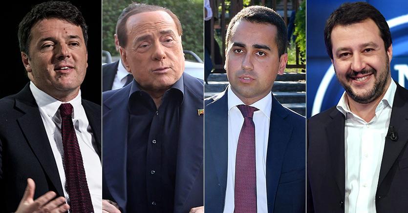 Risultati immagini per Renzi, Berlusconi, Di Maio, Grasso