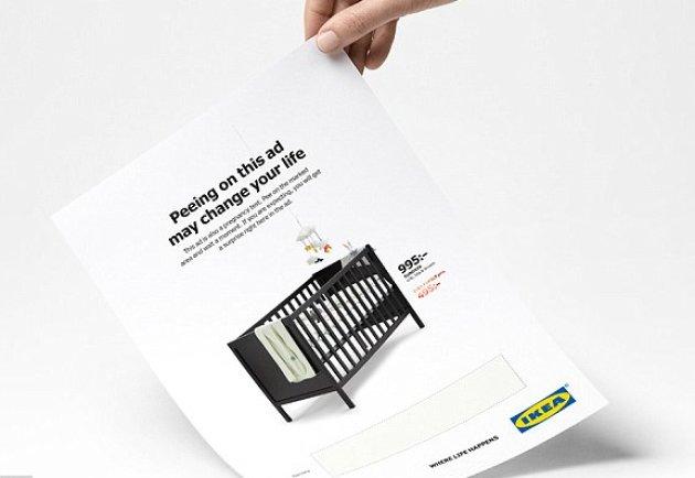 Ikea: pubblicità con test di gravidanza incorporato
