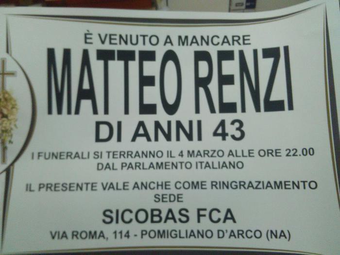 Pomigliano, impedita affissione di manifesti con la morte di Renzi