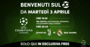 Juventus-Real Madrid in chiaro sul digitale terrestre e in HD su Tivùsat