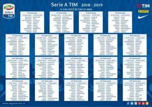 Partite Serie A Calendario.Calendario Serie A 2018 2018 Date Giornate Partite