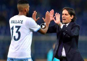 Marsiglia-Lazio 1-3 highlights, pagelle e video gol. Wallace esulta con Inzaghi dopo la rete del vantaggio (Ansa)