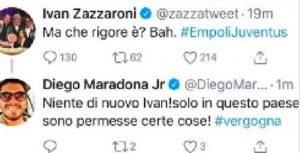 "Ivan Zazzaroni on Empoli-Juventus: ""But what is the penalty?"", Maradona jr: ""Bravo, it's a shame"""
