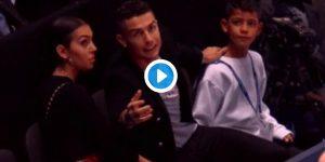 Cristiano Ronaldo, VIDEO e FOTO, liscia la pallina da tennis che finisce in testa a Georgina Rodriguez