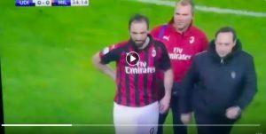 Udinese-Milan, Higuain esce per infortunio (VIDEO) a una settimana dalla Juventus: la reazione dei social