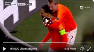 Van Dijk VIDEO gol pazzesco alla Germania al 90', Olanda alla Final Four di Nations League
