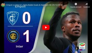 Empoli-Inter 0-1 highlights e VIDEO GOL, Keita Balde decisivo