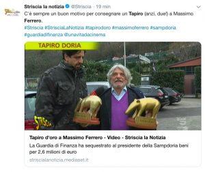 """Sampdoria, doppio tapiro d'oro per Massimo Ferrero: """"Hanno voluto fare un po' di clamore, è Natale..."""""""