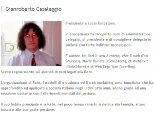 Il profilo Gianroberto Casaleggio sul sito della Casaleggio Associati
