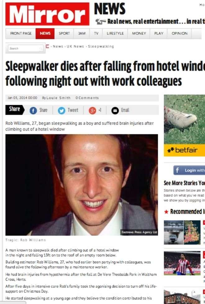 Rob Williams, 27 anni sonnambulo, cade dalla finestra dell'albergo e muore