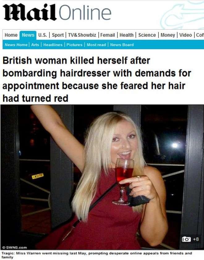 """50 sms al suo parrucchiere: """"I miei capelli diventano rossi"""". Poi si uccide"""