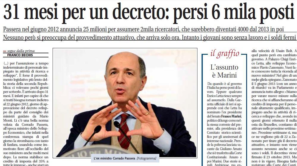 """""""31 mesi per un decreto: persi 6 mila posti"""", Franco Bechis su Libero"""
