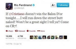 """Rio Ferdinand: """"Giro nudo se Cristiano Ronaldo non vince il Pallone d'Oro"""""""