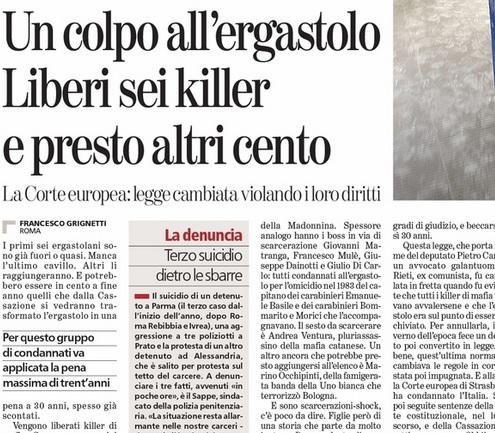 Liberi sei killer e presto altri cento, Francesco Grignetti sulla Stampa