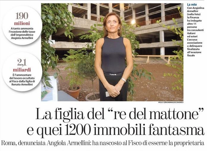Angiola Armellini nasconde al Fisco 1243 immobili: avrebbe evaso 190 mln