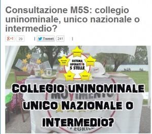 """Blog Beppe Grillo, nuovo sondaggio: """"Collegio uninominale, unico o intermedio?"""""""