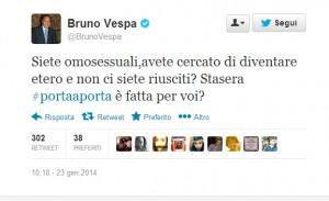 """Vespa su Twitter: """"Siete gay e volete diventare etero? Guardate Porta a Porta"""""""