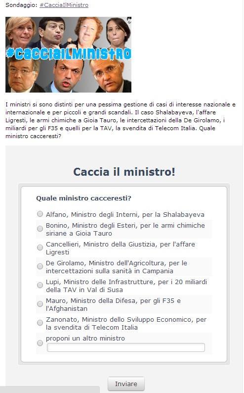 Blog Beppe Grillo, sondaggio #CacciaIlMinistro: Alfano, Bonino, Mauro...