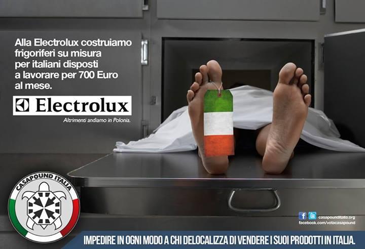 Casapound contro Electrolux: lavoratore in obitorio
