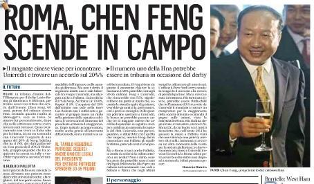 Roma, Chen Feng scende in campo: incontrerà Unicredit per trovare accordo