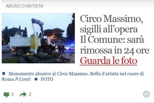 Circo Massimo: monumento abusivo sigillato e rimosso