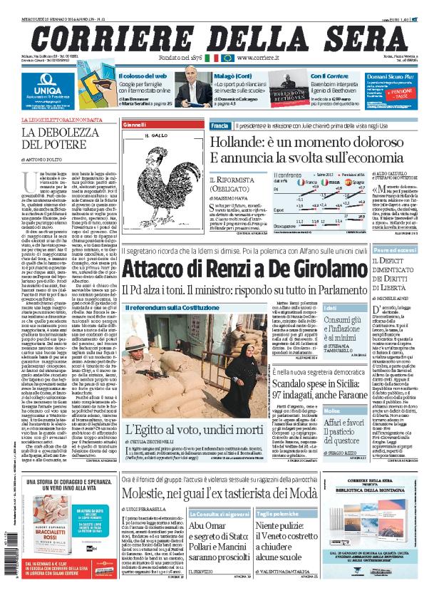 Renzi-De Girolamo, debito, Hollande: la rassegna stampa del 15 gennaio