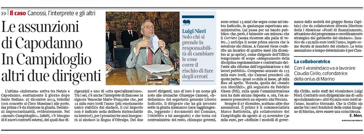 Corriere Roma: Ignazio Marino e le assunzioni di Capodanno