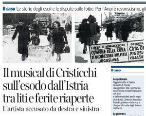 """Anpi espelle Simone Cristicchi: """"Magazzino 18 anti partigiani"""""""