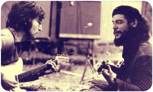 Che Guevara e John Lennon suonano la chitarra insieme