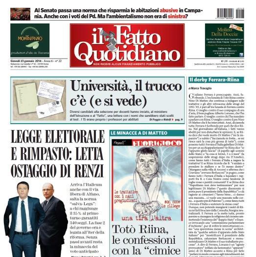 """""""Il derby Ferrara-Riina"""", Marco Travaglio sul Fatto Quotidiano"""