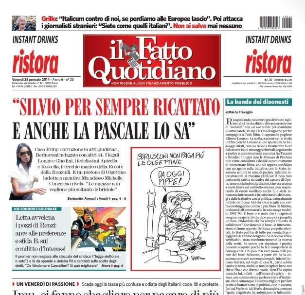 """Marco Travaglio sul Fatto Quotidiano: """"La banda dei disonesti"""""""