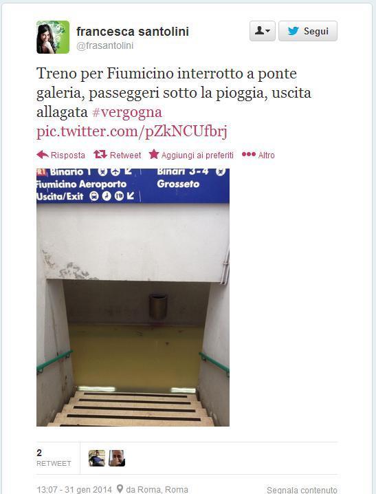 Nubifragio Roma: Fiumicino, interrotti collegamenti ferroviari Fs