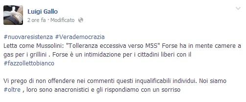 """M5s, Luigi Gallo: """"Letta come Mussolini. Camere a gas per noi grillini?"""""""