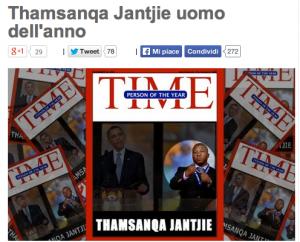 """Beppe Grillo: Thamsanqa Jantjie, interprete di Mandela, è """"l'uomo dell'anno"""""""