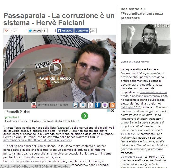 Hervé Falciani a Beppe Grillo: uniamoci contro la corruzione