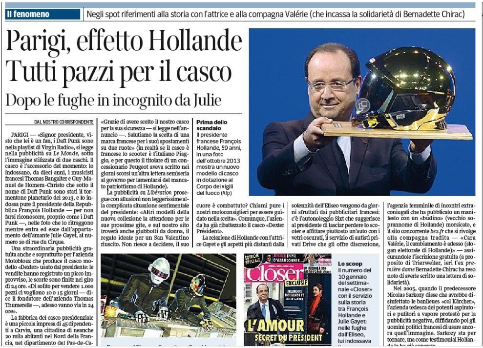 Francois Hollande, il miglior testimonial del casco