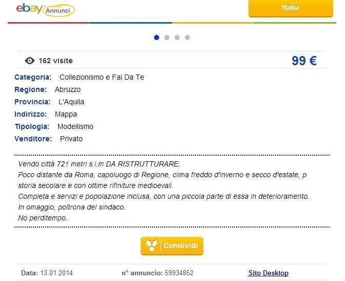 """L'Aquila in vendita su ebay, l'annuncio burla: """"Vendo città da ristrutturare"""""""