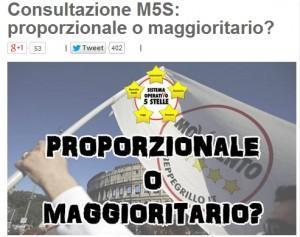 """Beppe Grillo blog: """"Proporzionale o maggioritario?"""". M5s vota legge elettorale"""
