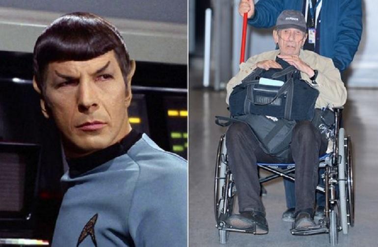 Leonard Nimoy, il Signor Spock in sedia a rotelle e con la bombola dell'ossigeno