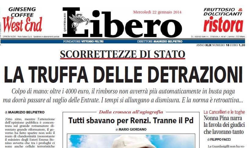 """""""La truffa delle detrazioni"""", Maurizio Belpietro su Libero"""
