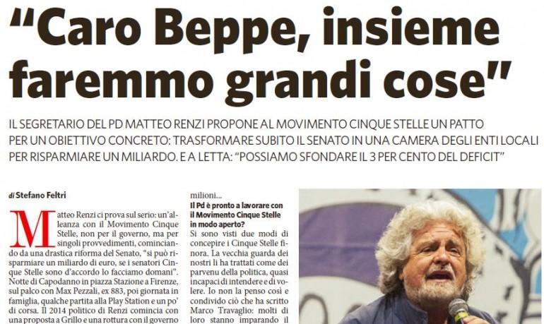 Renzi ci prova con Grillo, ma M5S si barrica. Ordine via sms: non rispondetegli